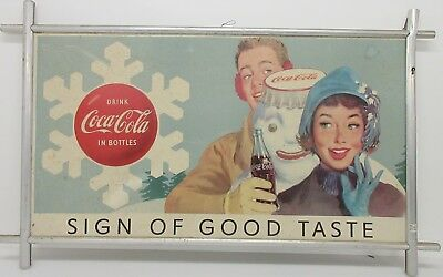 Dual Sided Lithograph On Aluminum Mid Century Coca Cola Ad *Local Pickup Only*