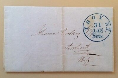 1849 stampless cover Troy, NY to Amherst, Mass 5c blue integral postmark