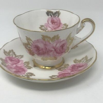 ROYAL CHELSEA Fine China Tea Cup And Saucer White Gold Pink Floral Roses