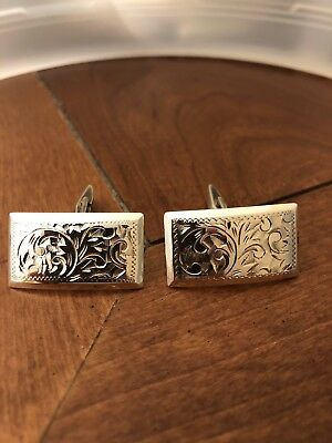 Antique Art Deco era Japanese Sterling Silver Cufflinks Hand Engraved Japan