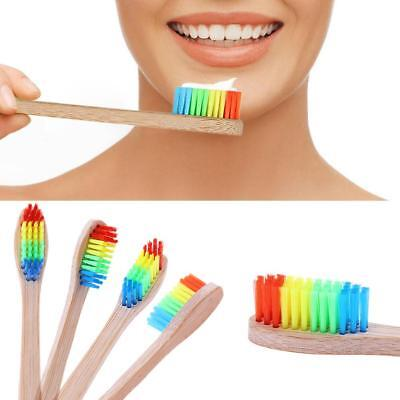 Rainbow Head Toothbrush Oral Healthy Care Bamboo Toothbrush Teeth Whitening Tool