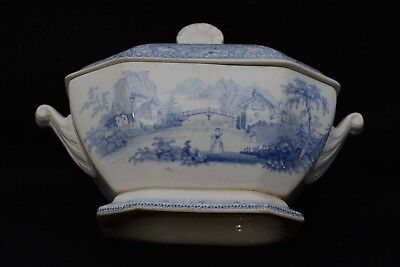 176-Year-Old Antique 1842 Blue and White Small Octagonal Footed Tureen with Lid