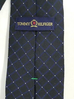 910adca30 Tommy Hilfiger Mens Silk Textured Dot Check Classic Neck Tie Black Blue  Silver