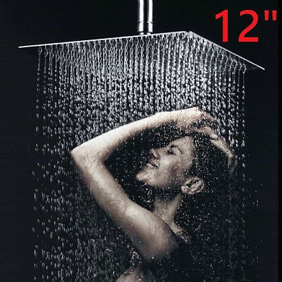 12''  Anti-static Stainless Steel Rainfall Shower Head Waterfall Chrome Square