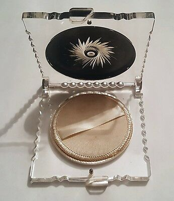 Vintage Lucite Art Deco Compact w/ Powder Sifter