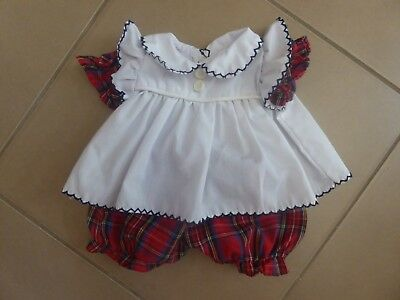 Vintage Cabbage Patch Doll outfit - tartan & white dress and pants