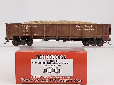 HO Red Caboose RR-35005-32 IC Illinois Central 40' Gondola w/ Load #94121 Custom