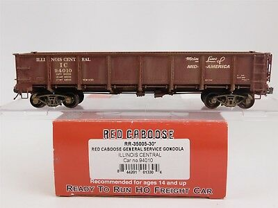 HO Scale Red Caboose RR-35005-30 IC Illinois Central 40' Gondola 94010 Weathered