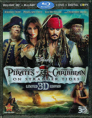 Blu-Ray 3D Pirates Of Caribbean On Stranger Tides +Dvd 5-Disc Disney +Slip-Cover