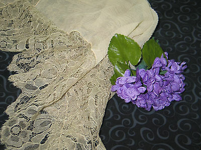 Antique c1800s Silk Wedding Hanky Handkerchief Handmade Lace
