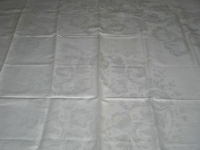 Exquisite Antique IRISH Linen Damask Tablecloth~Art Deco Stylized Tulips~Bridal