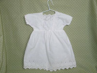 Antique Doll Dress Victorian Edwardian Embroidered Lace-French German Doll