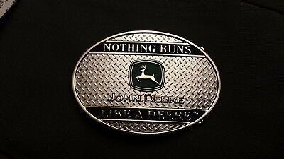 John Deere Silver Nothing Runs Like a Deere Belt Buckle good condition