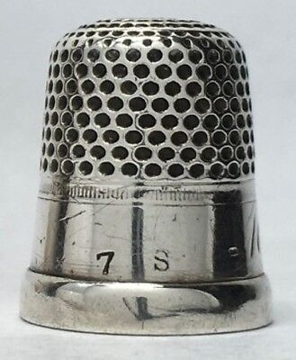 Shepard Mfg. Co. - Silver Thimble - Wide Band over extruded rim - Size 7
