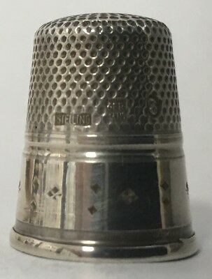 Near Mint - Gabler Sterling Thimble w/Nice Simple Diamond Decorated Band - Sz 8