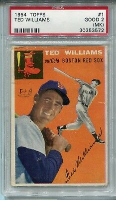 1954 Topps Ted Williams #1, Boston Red Sox, PSA 2 (MK)