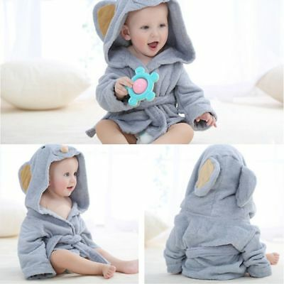 Baby Bath Towel Coral Fleece Blanket Infant Hooded Soft Bathrobe Cute Animal