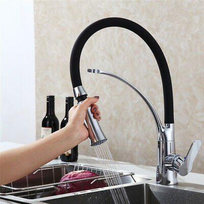 360° Rotation Swivel Kitchen Sink Mixer Taps Black Chrome Pull Out Brass Tap UK