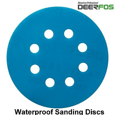 125mm Sanding Discs VECRO Orbital Wet or Dry Sandpaper Pads 8 Hole P40-P3000
