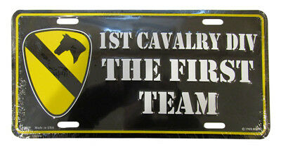"""1st Cavalry DIVISION The First Team Black 6""""x12"""" Aluminum License Plate Made USA"""