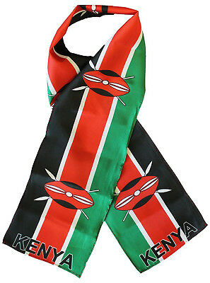"Kenya Country Lightweight Flag Printed Knitted Style Scarf 8""x60"""