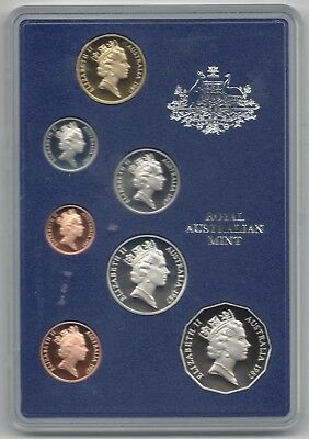 1987 Australian RAM PROOF 7 Coin Set in Blue Padded Folder with Original Packing