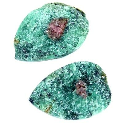 27.05Cts 100% Natural Designer Ruby In Zoisite Druzy Pear Pair Cabochon Gemstone