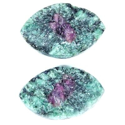 13.05Cts 100% Natural Designer Ruby In Zoisite Druzy Pear Pair Cabochon Gemstone