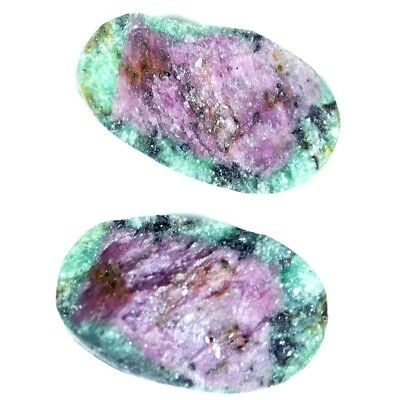 13.25Cts 100% Natural Designer Ruby In Zoisite Druzy Oval Pair Cabochon Gemstone