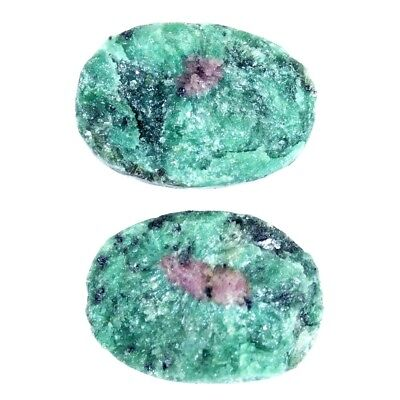 27.30Cts 100% Natural Designer Ruby In Zoisite Druzy Oval Pair Cabochon Gemstone