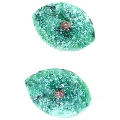 12.45Cts 100% Natural Designer Ruby In Zoisite Druzy Pear Pair Cabochon Gemstone