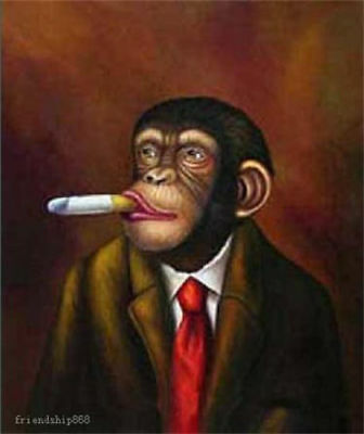 ZOPT225 100% handpainted abstract monkey smoking art OIL PAINTING ON CANVAS