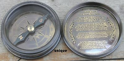 Antique Brass Nautical Poem Compass Marine Robert Frost Engraved Best Gift.