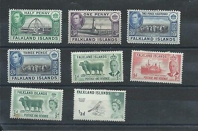 Falkland Islands stamps. GVI & a couple of early QEII MH lot. (D798)