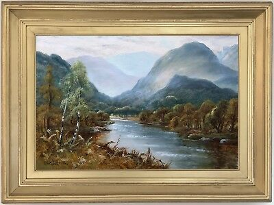 River Landscape North Wales Oil Painting Charles Leader (British, 19th Century)
