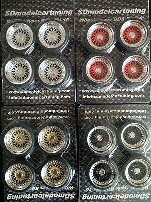 1:18 Scale BBS RM 16 INCH TUNING WHEELS WITH SEVERAL COLOR OPTIONS, NEW NEW!!