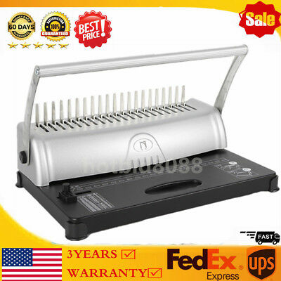 21-Hole 450 Sheets Paper Comb Punch Binder Machine Binding Report Scrapbook USA