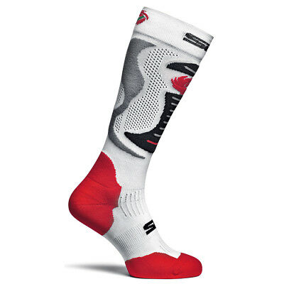 Sidi Motorcycle Motorbike Long Race Socks Faenza - White/Red/Black