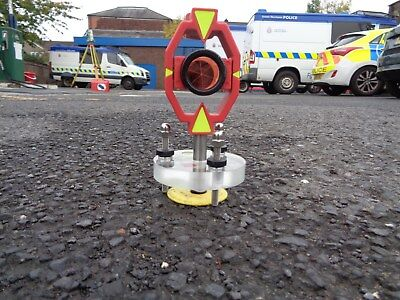 mini prism surveying tripod stand and pin by Redsretros, ideal for lone working