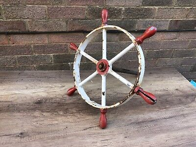 Antique Vintage Metal And Wooden Ships Wheel Boat Yacht Sailing Art Deco 60cm