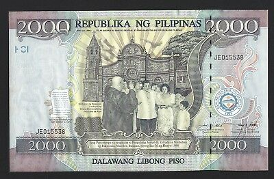 1998 Philippines 2000 Piso Large Sized Commemorative Banknote Ch UNC, Scarce 189