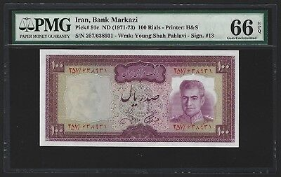 IRAN 1971-73 100 Rials, GEM UNC PMG 66 EPQ, P-91c, Sign #13, 2nd Finest & Rare 2