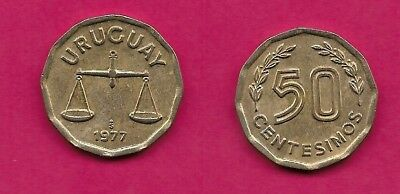 Uruguay Oriental Rep 50 Centesimos 1977 Xf Scale,value Flanked By Sprigs,12 Sid
