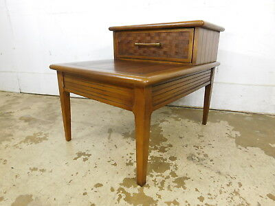 c1970 Mid Century Modern LANE PERSPECTIVE DESIGN Walnut Woven Step Side Table