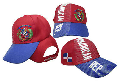 Dominican Republic Country Letters Emblem Red Blue Bill 3-D Embroidered Cap Hat