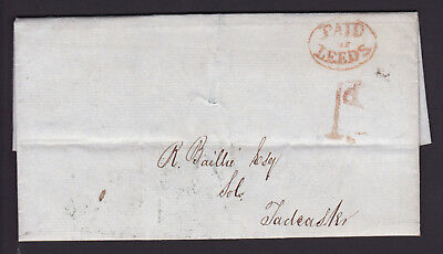 Gb. Qv. 1842 Entire. Paid At Leeds.