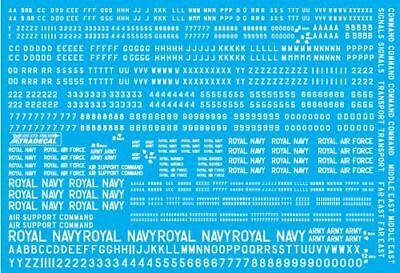 "Xtradecal 1/72 RAF White Serial Letters and Numbers 4"" ,6"" ,8"" and 12"" # 72158"