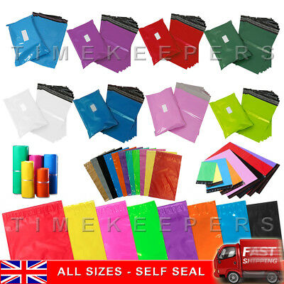 Coloured Mailing Bags Postage Plastic Mail Post Polythene Strong Seal All Sizes