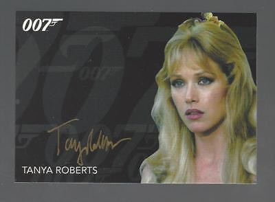 James Bond TANYA ROBERTS as Stacey Sutton Autograph Black Gold Ink Auto