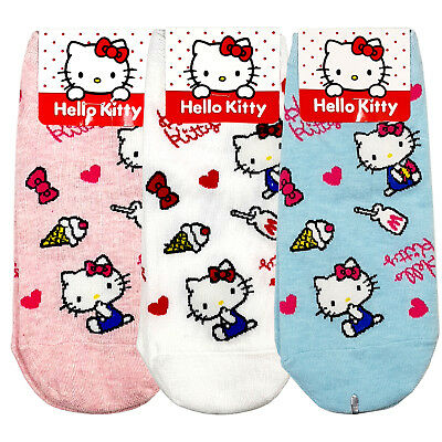 23b9aecd0 Hello Kitty Women Sneaker Ankle Socks Character Cartoon Ladies Lot Casual  Sock